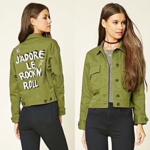 Forever 21 J'adore Le Rock'N Roll green jacket M